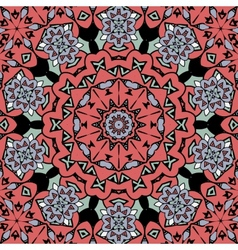Floral oriental pattern Mandala red color endless vector image