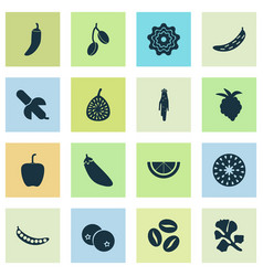 Food icons set with blueberry pattionson vector