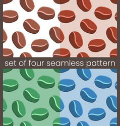 four simple coffee seamless pattern vector image