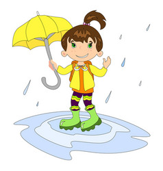 girl in raining with umbrella vector image