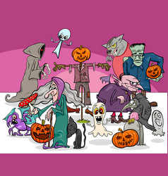 Halloween holiday cartoon scary characters group vector