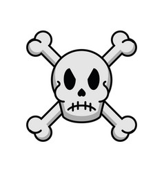 Halloween skull head with crow vector