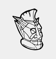 Hand drawn totem face symbol vector