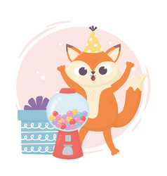 Happy day little fox with gift box and candies vector