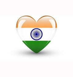 Heart-shaped icon with national flag of India vector