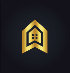 House icon building gold logo vector