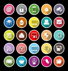 Internet cafe flat icons with long shadow vector