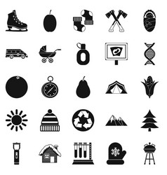 kid camp icons set simple style vector image