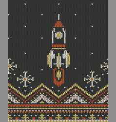 Knitting seamless pattern rocket vector