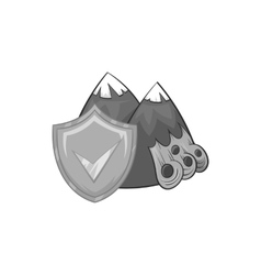 Landslide and shield with tick icon vector