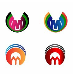 Letter M logo set vector