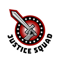 Logo squad of justice sword in hand vector
