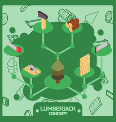 lumberjack color isometric concept icons vector image