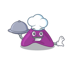 Mascot design adrenal chef serving food on tray vector