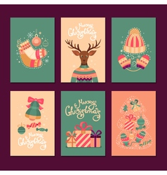 Merry Christmas gift cards vector