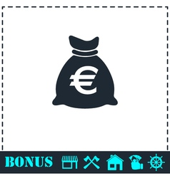 Money bag icon flat vector