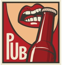 Mouth opens a beer bottle vector