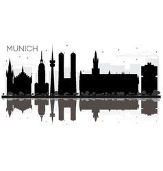 Munich germany city skyline black and white vector
