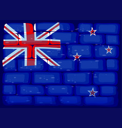 new zealand flag painted on brickwall vector image