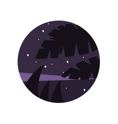 Night scenery with purple starry sky and vector