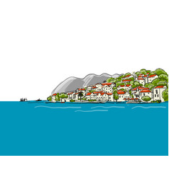 old european city mediterranean sea sketch for vector image