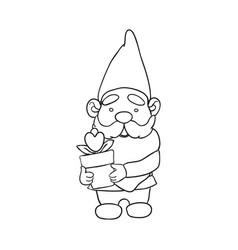 Outline garden gnome vector