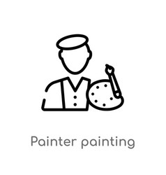 Outline painter painting icon isolated black vector