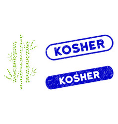 Oval mosaic bamboo with grunge kosher stamps vector