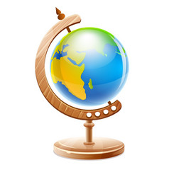 planet earth globe on wooden vector image