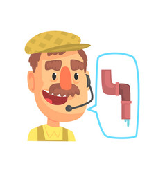 Plumber worker repairman consulting people by vector