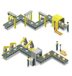 Production line isometric 3d concept set vector