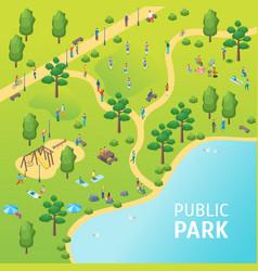 public park concept card poster vector image