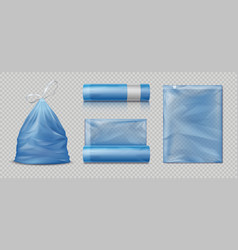 Realistic trash bags 3d packages for waste full vector