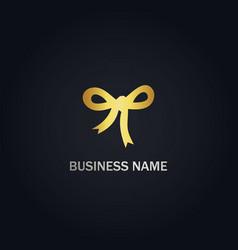 ribbon gift gold logo vector image