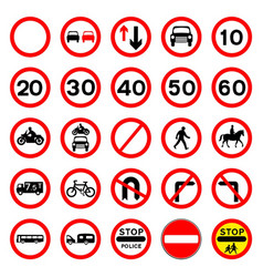 Road signs - red round vector