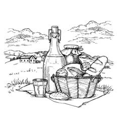 Rural landscape with set of farm food vector image