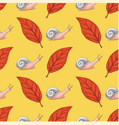 seamless pattern with red beech leaf and snails vector image