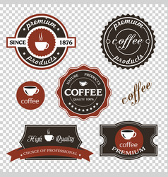 set coffee iconslabels posters signs banners vector image