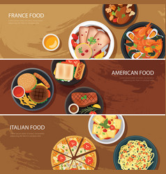 Set of food web banner flat design vector image