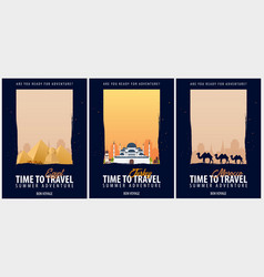 Set of posters travel to egypt turkey and morocco vector
