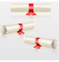 set scrolls with red ribbon vector image
