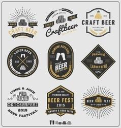Set vintage beer badge logo and labels template vector