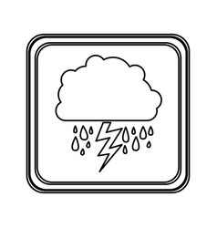 Silhouette emblem cloud rainning and ray icon vector