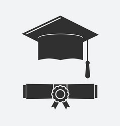 silhouette graduation hat and rolled diploma vector image