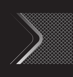 silver arrow curve with black blank square mesh vector image