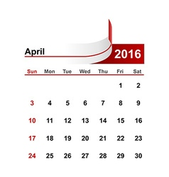 Simple calendar 2016 year april month vector