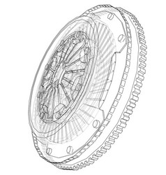 Sketch of clutch basket for the car vector