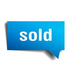 sold blue 3d speech bubble vector image