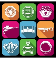 Space game icons white vector image
