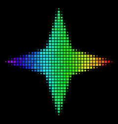 Spectral colored pixel space star icon vector